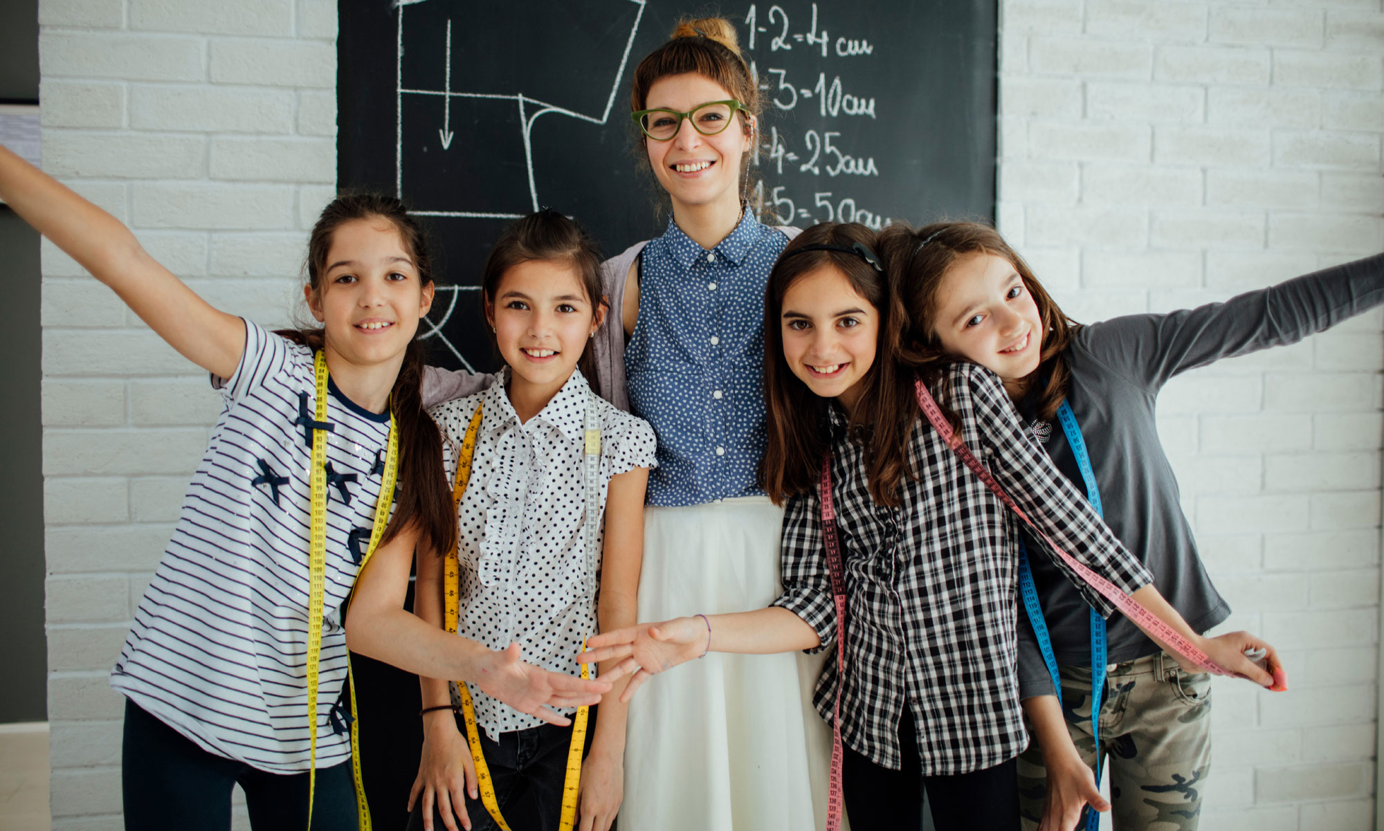 Teacher with happy students